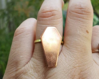 Coffin copper ring, Till death ring, goth ring, coffin ring, Bff gift, jeweled coffin ring, adjustable coffin ring