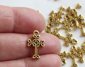 Gold Celtic Cross Charms, 2+ TierraCast Antique Gold Plated, Small Crucifix Pendant, Lead Free Pewter, Golden Christian Faith Charms