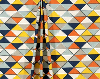 Curtains, Pair of Rod Pocket Panels, Premier Prints Dimensions Maya Macon Blue Yellow Orange Gray Triangles Geometric, Choose Size