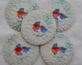 Handmade Red Fish Tile Set Hand Painted