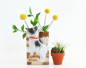 Vintage Ceramic Dog Wall Pocket from Japan / Retro Dog Wall Planter / Ceramic Dog Wall Pocket / Vintage Dog Vase / Vintage Wall Pocket