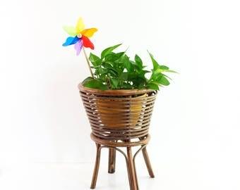 Vintage Rattan Plant Stand / Boho Rattan Plant Pot Holder / Vintage Plant Stand / Boho Home Decor