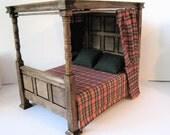 Tudor Canopy Bed,  dollhouse miniature bed, Medieval bed, double bed, dollhouse bed, Tudor,  twelfth scale