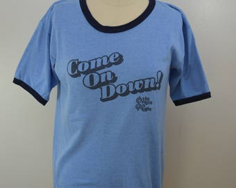 Vintage The PRICE IS RIGHT ringer t-shirt heather blue large