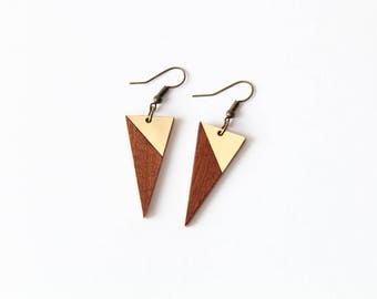 Mahagony and golden triangle intarsia dangle earrings - minimalist, modern handmade gift