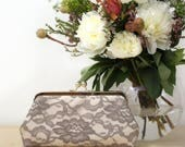 Bridal Peony Lace Clutch in Champagne Taupe Stone | Mother of the Bride and Groom | Wedding Gift | Photo Clutch