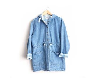 Size L // DENIM HOODED PARKA // Jean Jacket - Button-Up - Hoodie - Minimalist - Vintage '90s.
