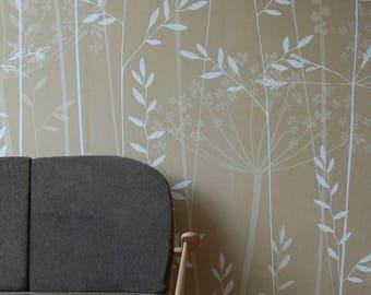 Beige Brown Floral Botanical Wallpaper Mural / In the Tall Grass / Kraft / Hannah Nunn