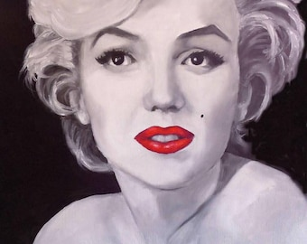Marilyn Monroe Wall Art, 14x18 Oil on Canvas Panel, Portrait of Marilyn Monroe in Black, White and Red , FREE SHIPPING in US