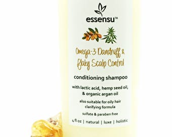 Dry Flaky Scalp Conditions Organic Argan Oil Lactic Acid Omega-3 Natural Shampoo | Also For Itchy Scalp , Oily Hair and Scalp | Vegan - 4 oz