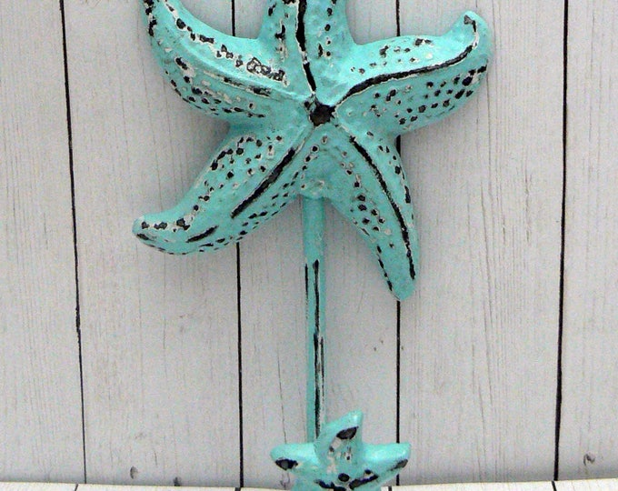 Starfish Cast Iron Wall Hook Blue Shabby Chic Cottage Chic Beach Nautical Home Decor