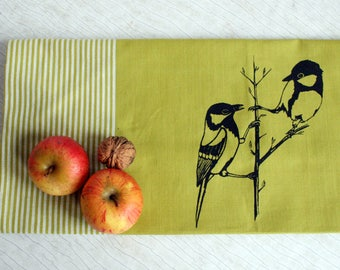 Fair Trade handwoven tea towel 'great tit' green