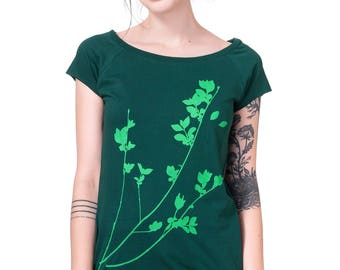 "Woman organic fairtrade-shirt ""privet"" dark green"