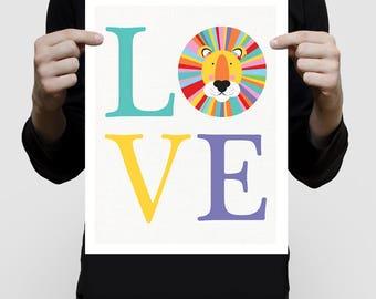 lion art LOVE, kids jungle animal print, african sarafi nursery theme, colorful nursery decor, kids room wall art, playroom animal artwork