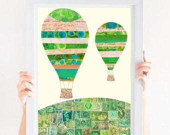 Nursery Art Girl, Nursery Art Print, Hot air Balloons, Printable art, Wall art, Kids Gender Neutral, Nursery decor, Travel Art