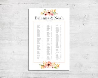 Wedding Reception Seating Chart - Digital File Only, in Blush and Gold Floral Design