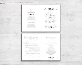Petite Floral Design Bifold Folded Wedding Programs - Digital File Only