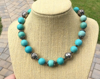 Dyed Turquoise Stone Beads & Silver Necklace - Southwestern Style Short Choker Necklace