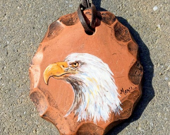 Hand Painted Bald Eagle Clay Pendant Necklace by Marilyn on Leather Cord - Vintage 1970s Unisex