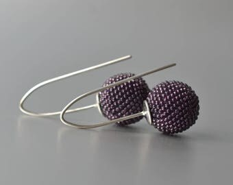 globe dangle earrings violet beaded modern
