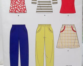 Easy Misses' Tops and Bottoms New Look 6950 Sewing Pattern, Pullover Top, Round Neckline, Cami Elastic Waist Pants & Skirt Size 10 - 22
