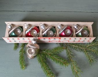 6 Vintage Shiny Brite Double Indent Christmas Ornaments in Display Box
