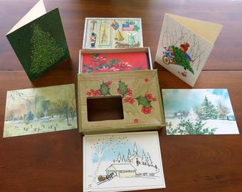 Vintage 1960s Christmas Cards Unused Famous Artists Studios Assortment of 14 Cards & Envelopes