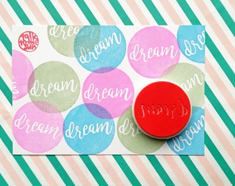 dream rubber stamp | calligraphy stamp | birthday card making | diy planner journal | craft gift for her | hand carved stamp by talktothesun