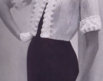Vintage Shortie Jacket Vintage PDF Knitting Pattern Size Range 10-20 Bust 32.5-41 Inches Instant Download Digital 1950's e-Pattern Download