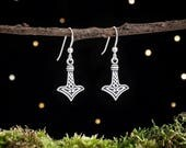 Sterling Silver Thor's Hammer Mjölnir Earrings - Small, Double Sided [CLEARANCE]