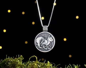 Sterling Silver Celtic Cat - (Pendant or Necklace)
