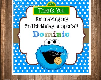 PRINTABLE Cookie Monster Gift Tags, Cookie monster stickers, Printable file, Cookie Monster Favor Tags, Cookie Monster Birthday Party