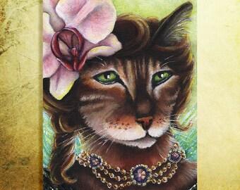 Orchid Fairy Bengal Cat Flower Faery Cats 5x7 Fine Art Print