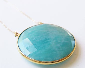 SALE Lare Round Amazonite Gold Necklace