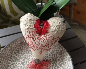 Embroidered Pillow Decor - Redwork Embroidery - Valentine Embroidery - Valentine Pillow