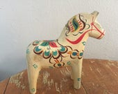 The Vintage Swedish Scandinavian Dala Wood Painted Horse Souvenir