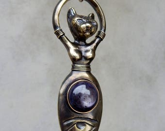Bast Goddess with Star Sapphire and Eye of Horus, Egyptian Cat Goddess of Sensual Pleasure, Protection, and Health, Third Eye Chakra