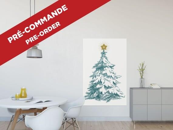 PRE-ORDER // CHRISTMAS tree poster  // christmas poster, 36X55, minimalist print, vintage tree, drawing tree