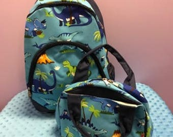 Personalized Boys Dinosaur Backpack With Matching Lunchbox