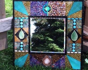"Southwestern Mosaic Mirror Square 20"""
