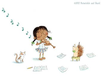 The Musicians- African American Girl Playing Violin with Hedgehog - Art Print