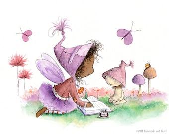 Violet Islesprite Writes Stories - Fairy Art - Art Print