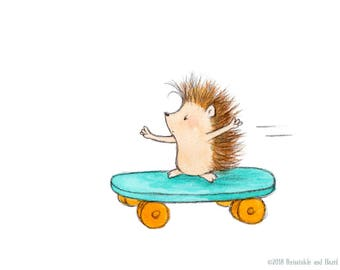The Hedgehog Who Is Going Places  - Art Print