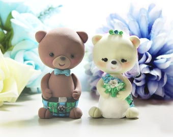 Unique Scottish kilt tartan wedding cake toppers Bears - cute personalized brown ivory anniversary traditional blue green - optional base