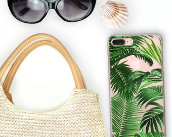 iPhone X Case Tropical iPhone 8 Plus Case Clear Palm Beach iPhone 7 Plus, 6S Case Palm Leaf Resort Samsung Galaxy S8+ S7 Edge