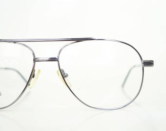 Vintage Gunmetal Aviator 1980s Glasses Guys Sunglasses Sunnies 80s Eighties Metallic Silver Mens Retro Authentic Deadstock NOS Brand New
