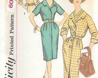 Simplicity 3554 UNCUT 1960s Fitted Shirtdress Vintage Sewing Pattern Bust 34 Slenderette Three Quarter Sleeves French Cuffs