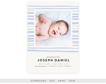 Modern Baby Boy Birth Announcement | Instant Download, Printable Template, Newborn Printable, Birth Announcement Template, New Baby Boy, PDF