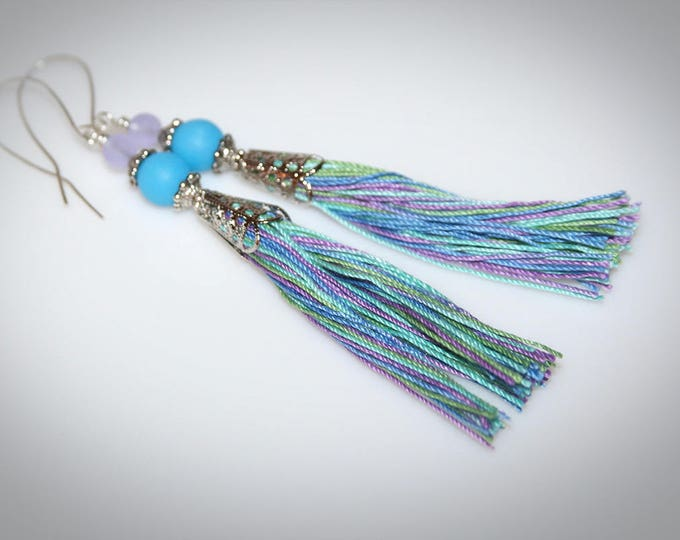 Bohemian Blue and Purple Tassel Earrings. Natural Cotton Fiber and Recycled Glass Beads.