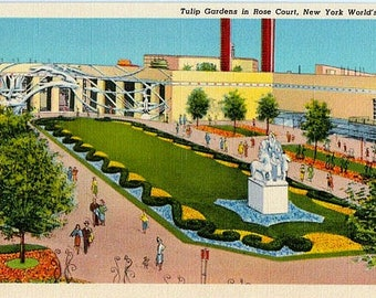 Vintage Postcard - 1939 New York World's Fair - Tulip Gardens in the Rose Court (Unused)